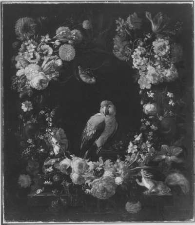 Blumenstück mit Papagei