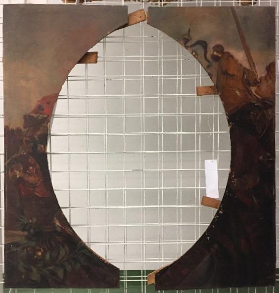 Teile eines Schlachtenbildes mit Hornbläser und Fahnenträger zu Pferd (abgenommene Zwickelstücke eines ovalen oder runden Gemäldes)
