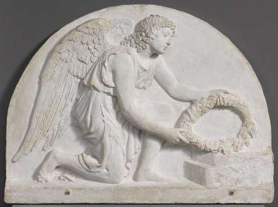 Modell für einen Kranz niederlegenden Engel eines Grabmals
