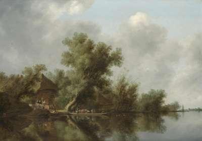 Flusslandschaft mit Fähre