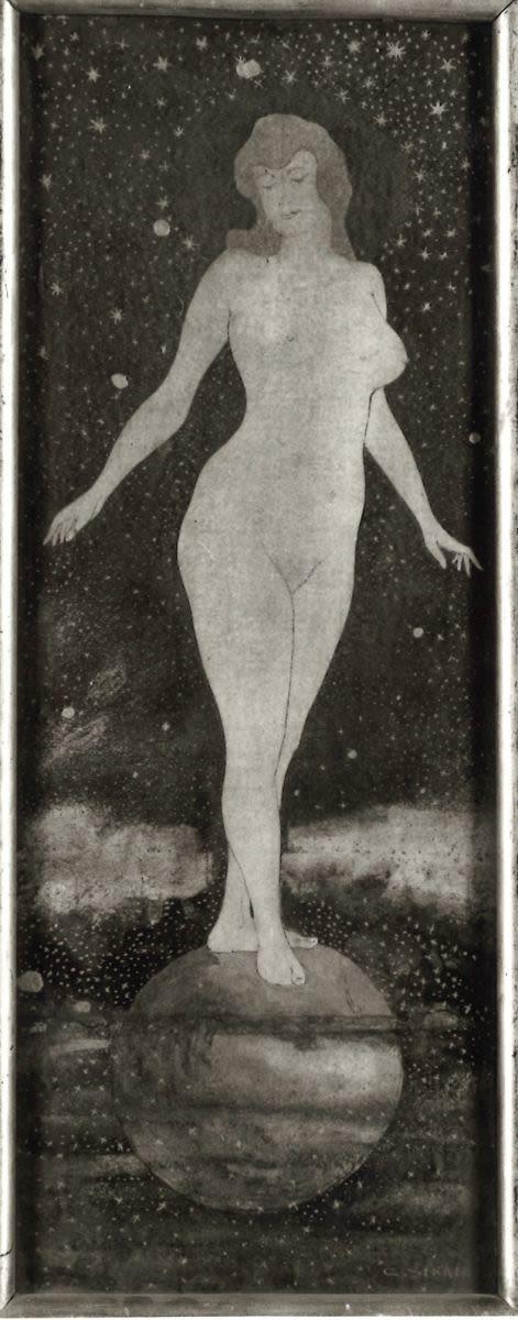 Die Nacht (Weiblicher Akt auf Kugel)