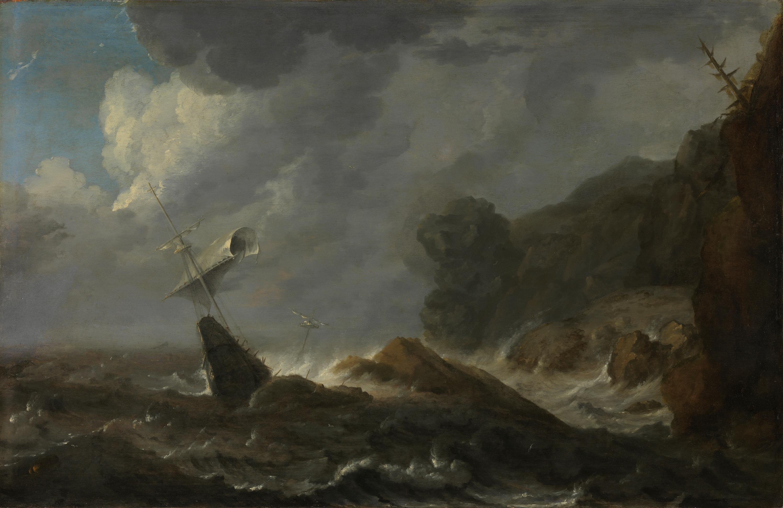 Schiffbruch vor felsiger Küste