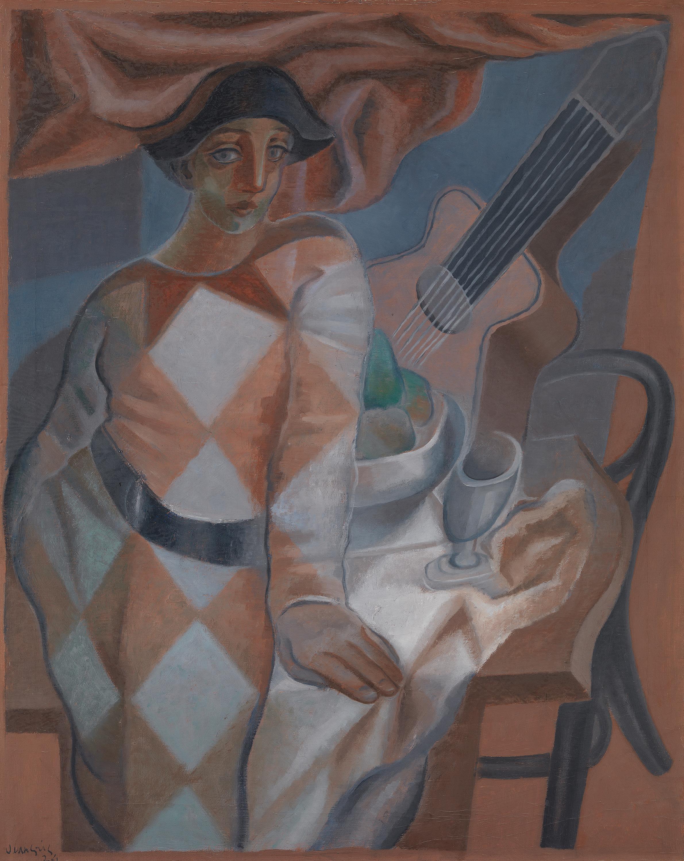 Arlequin devant une table