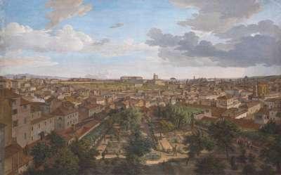 Blick von der Villa Malta in Rom nach Süden