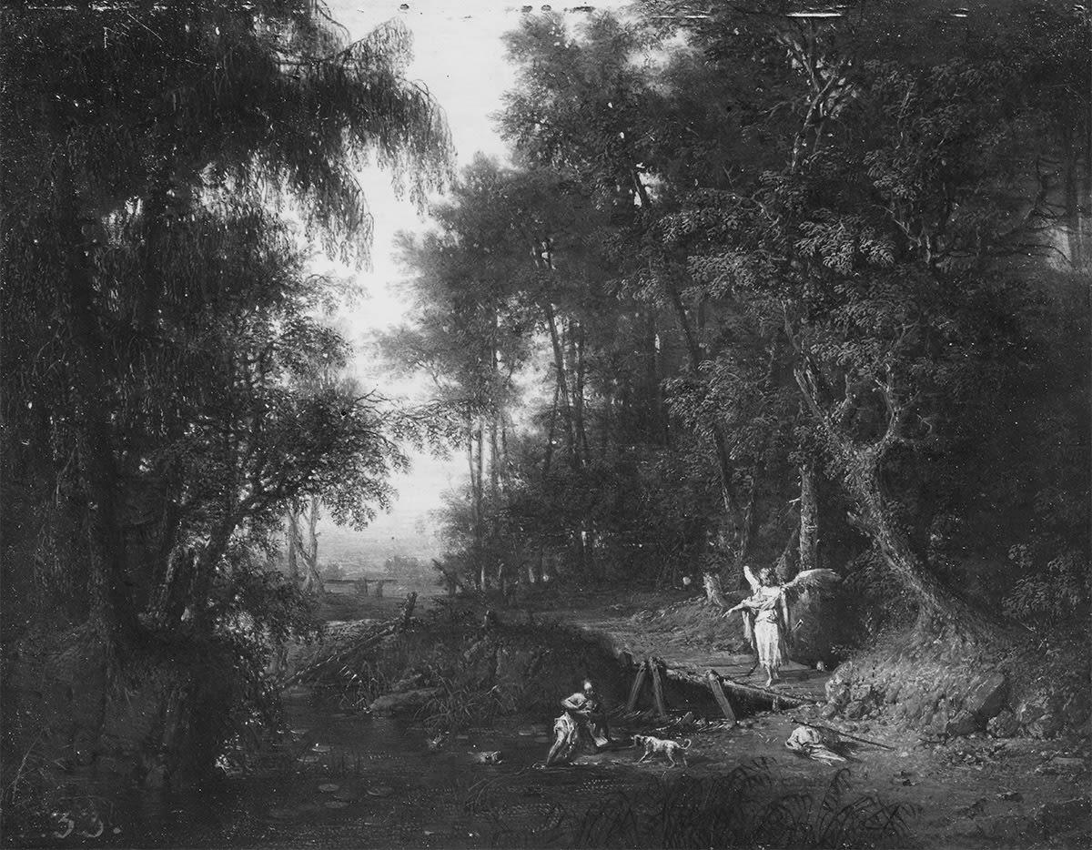 Waldlandschaft mit Engel und Tobias