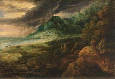 Landschaft bei aufziehendem Gewitter