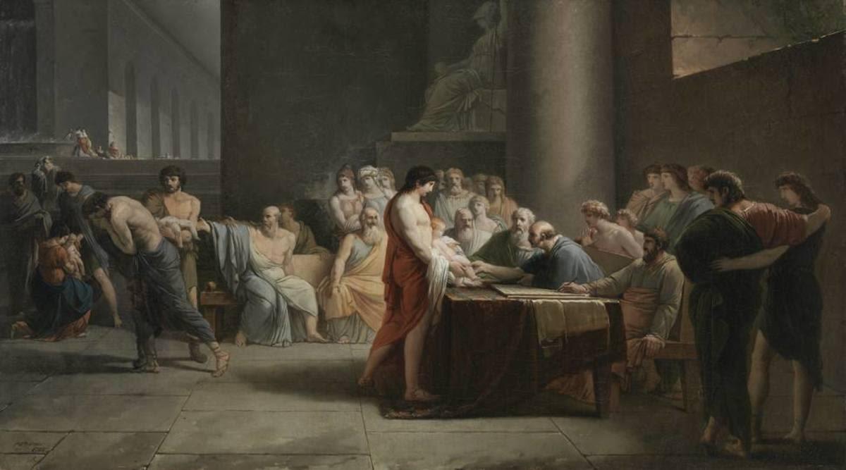 Gericht über die Neugeborenen Spartas