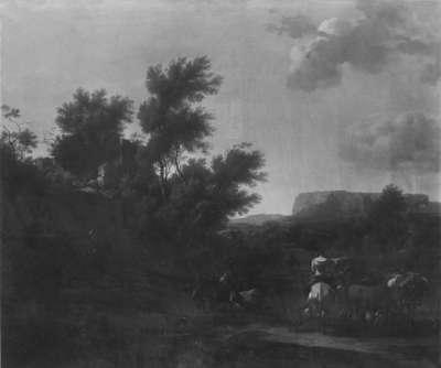 Italienische Landschaft mit Vieh und Hirten