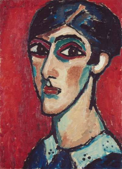 Länglicher Kopf in Braunrot (Großer Frauenkopf auf Rot)