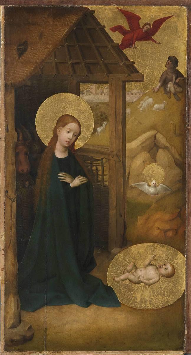 Tafel eines Flügelaltares: Geburt Jesu Außenseite: Teil einer Kreuzigung Petri und eines weiteren Martyriums