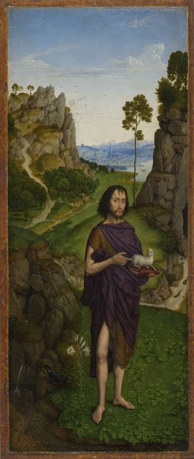 """""""Perle von Brabant"""": Johannes d. T. in einer Landschaft Außenseite: Hl. Katharina"""