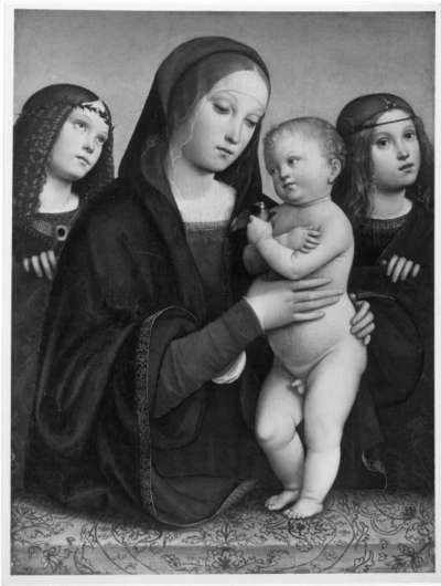 Maria mit Kind und zwei Engeln