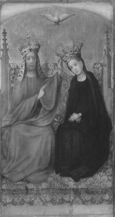 Tafel eines Flügelaltares: Krönung Mariens Außenseite: Fragmente von Heiligenmartyrien