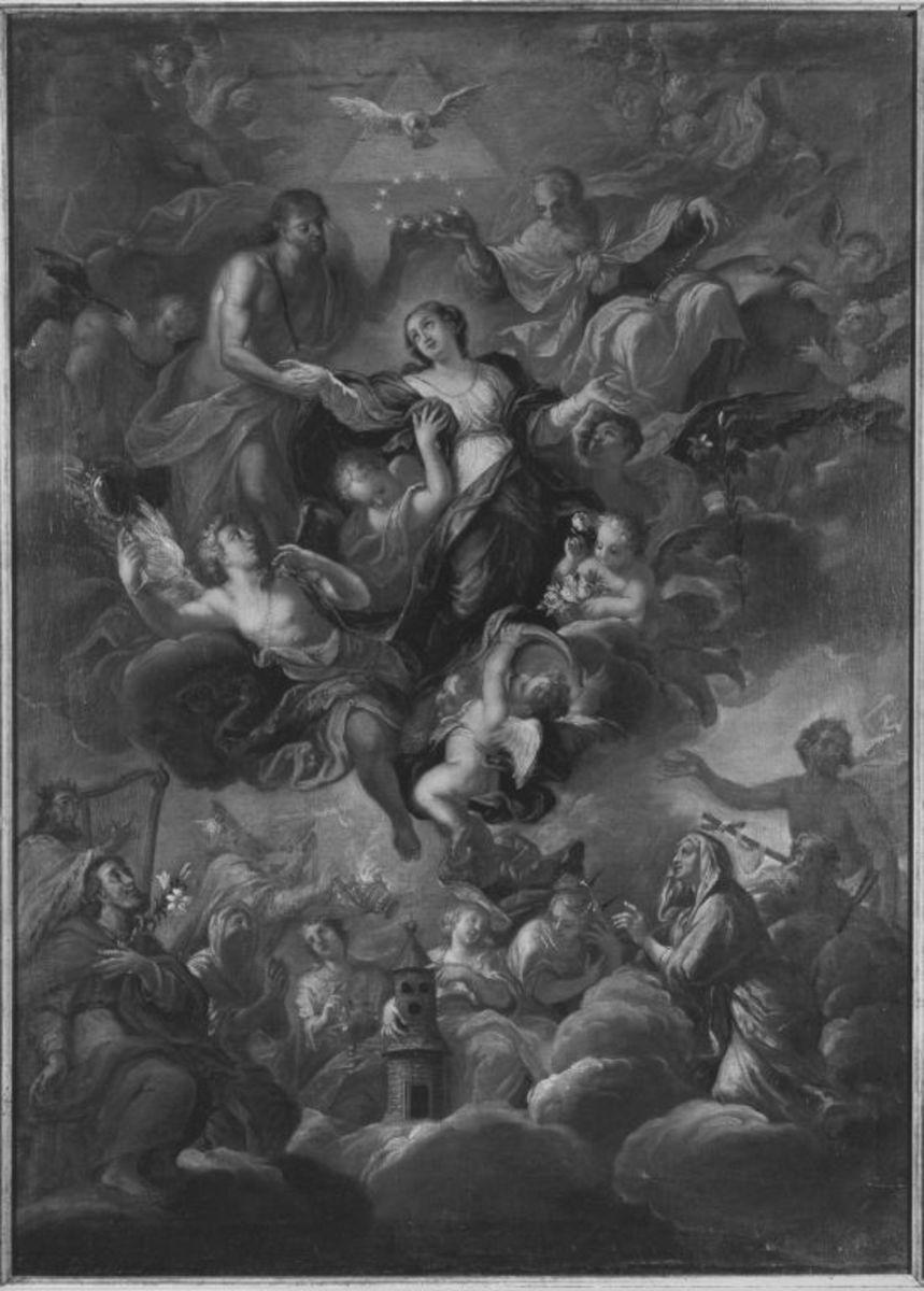 Krönung Mariens und ihre Verherrlichung durch Heilige