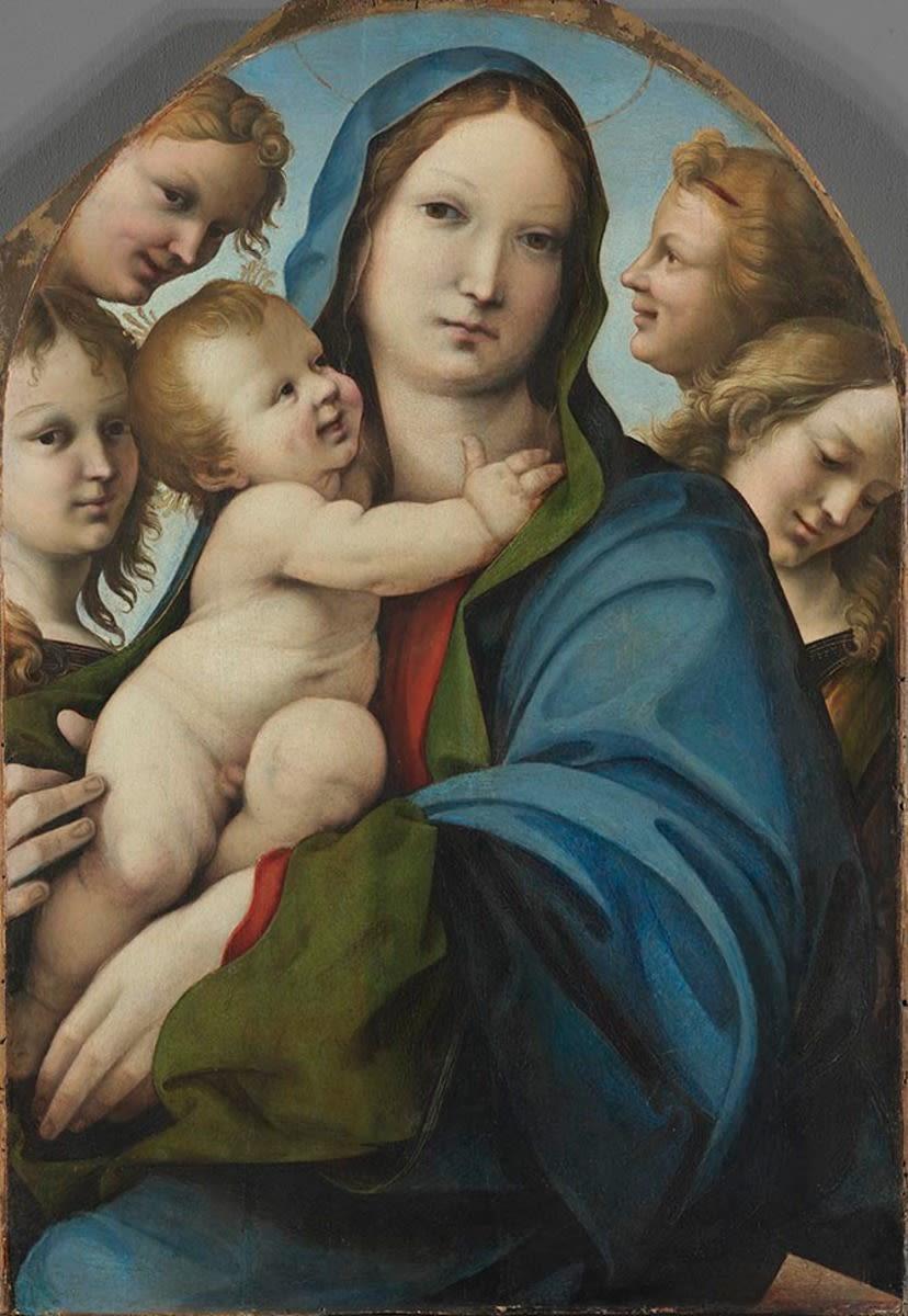 Maria mit dem Kinde und vier Engeln