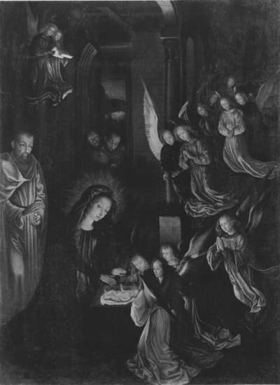 Geburt Christi (nach einem verlorenen Original von Hugo van der Goes) (Rückseite: Wappen)