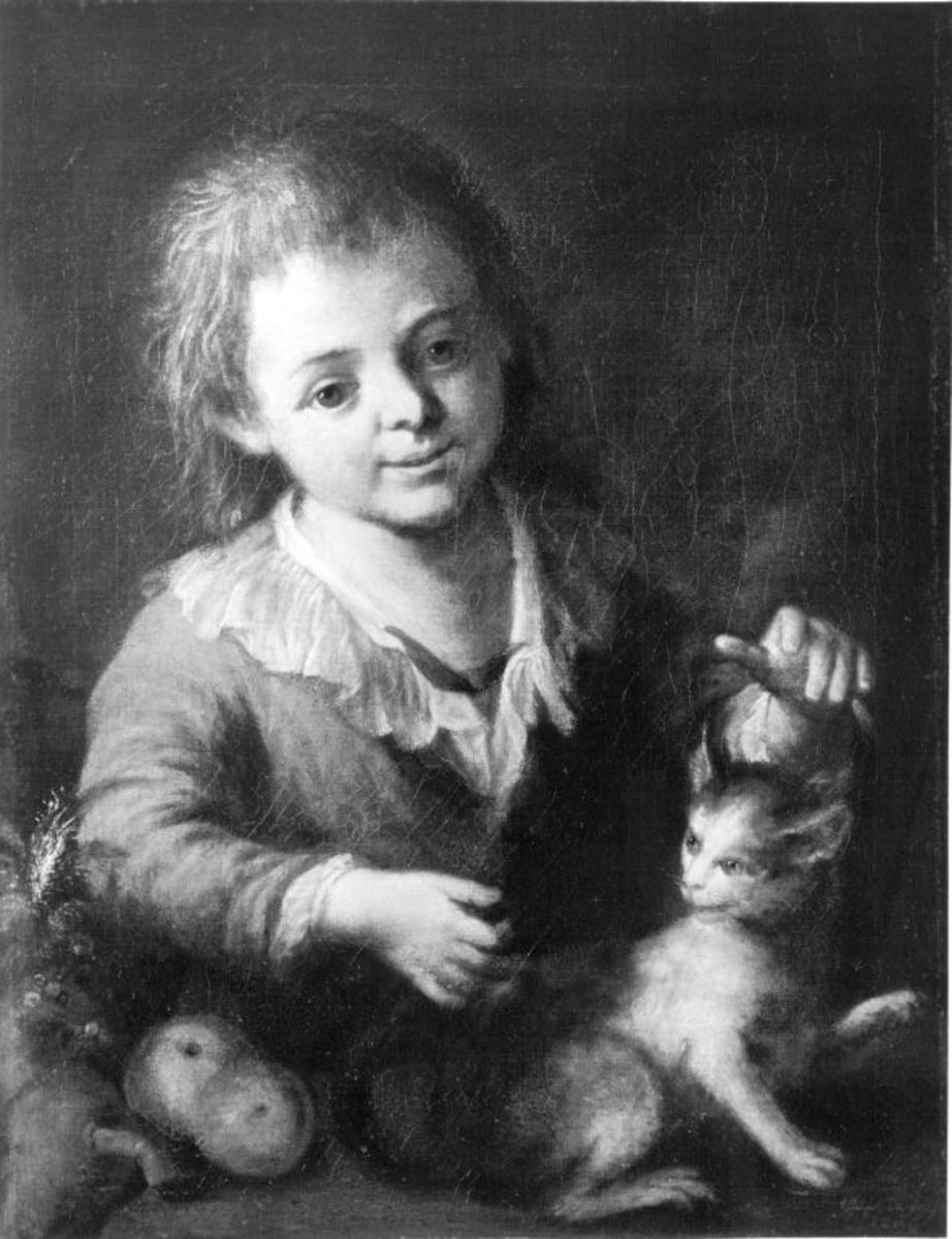 Knabe mit Katze