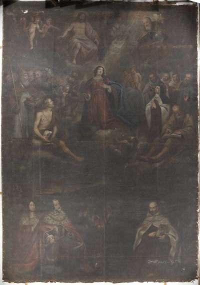 Kurfürst Maximilian I. von Bayern empfiehlt sich vor der Schlacht am Weißen Berg dem Schutz der Gottesmutter, der Heiligen Dreifaltigkeit und allen Heiligen