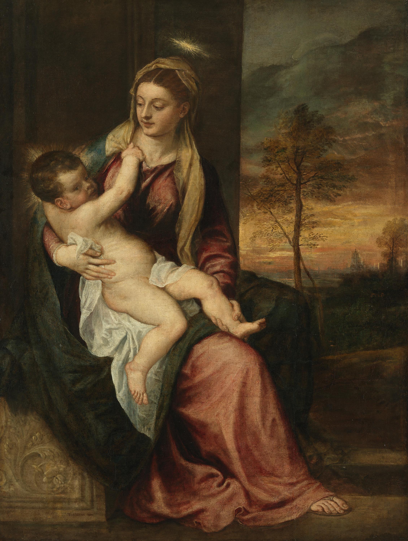 Maria mit Kind in einer Abendlandschaft