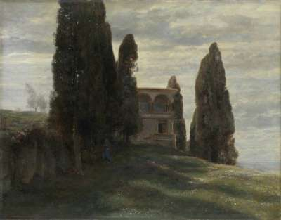 Italienische Villa im Frühling