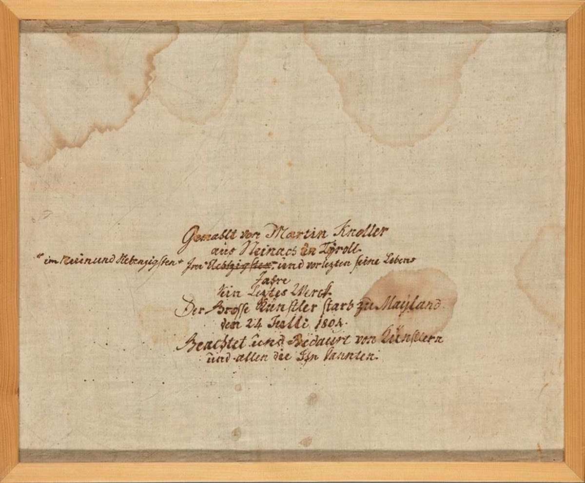 Beschriftete Leinwand zu Inv.Nr. 14910