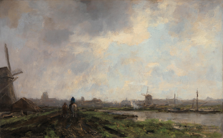 Holländische Landschaft mit Treidler
