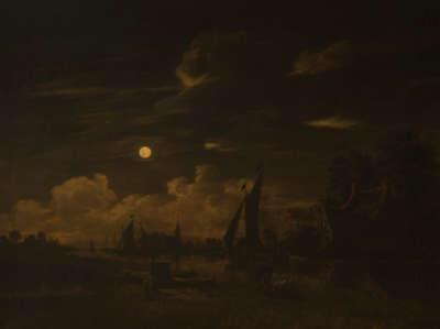 Kanallandschaft bei Mondschein