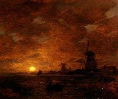 Holländische Küstenlandschaft mit Windmühlen