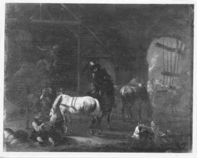 Pferde in der Scheune