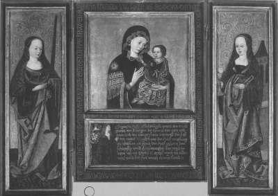 Triptychon mit einem Marienbild im Typus der Madonna del Popolo, einem Stifter, den hll. Katharina und Barbara auf den Flügeln (Flügelaußenseite: Verkündigung)