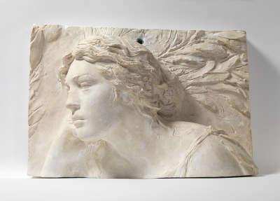 Fragment eines Modells für die Fantasie des Denkmals von Werner von Siemens in Berlin