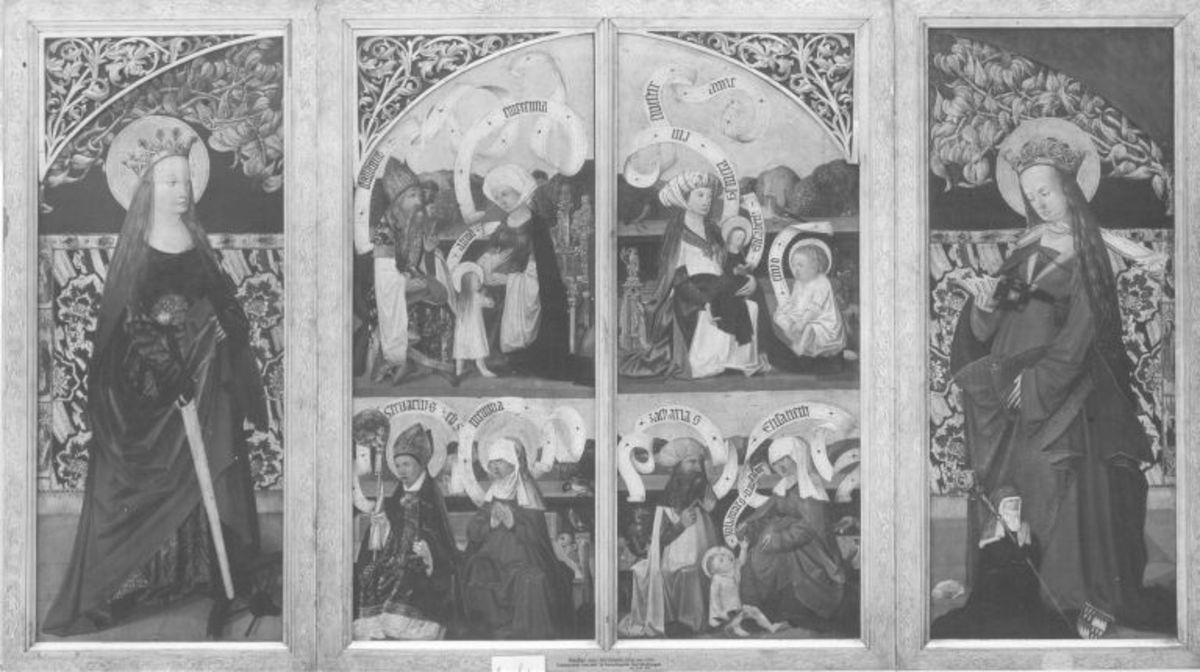 Kirchheimer Sippenaltar, Flügel: Esmeria mit Elisabeth und Eliud; Zacharias mit Elisabeth und Johannes d. T.; Stollanus mit Emerentia und Anna, Memelia mit dem Bischof Servatius