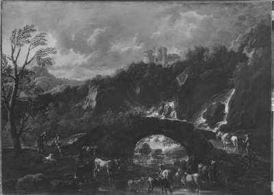 Italienische Ideallandschaft mit Vieh und Brücke