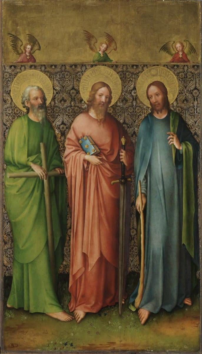 Kreuzigungsaltar: Apostel Philippus, Matthäus und Jacobus d. J. Rückseite: Hl. Christophorus