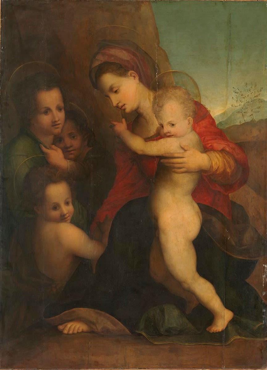 Maria mit Kind, dem Johannesknaben und Engeln