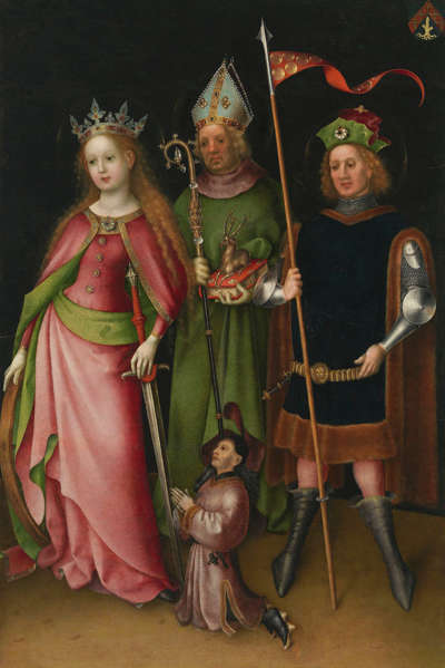 Flügel des Weltgerichtsaltares: Hll. Katharina, Hubertus und Quirinius von Neuss mit Stifter