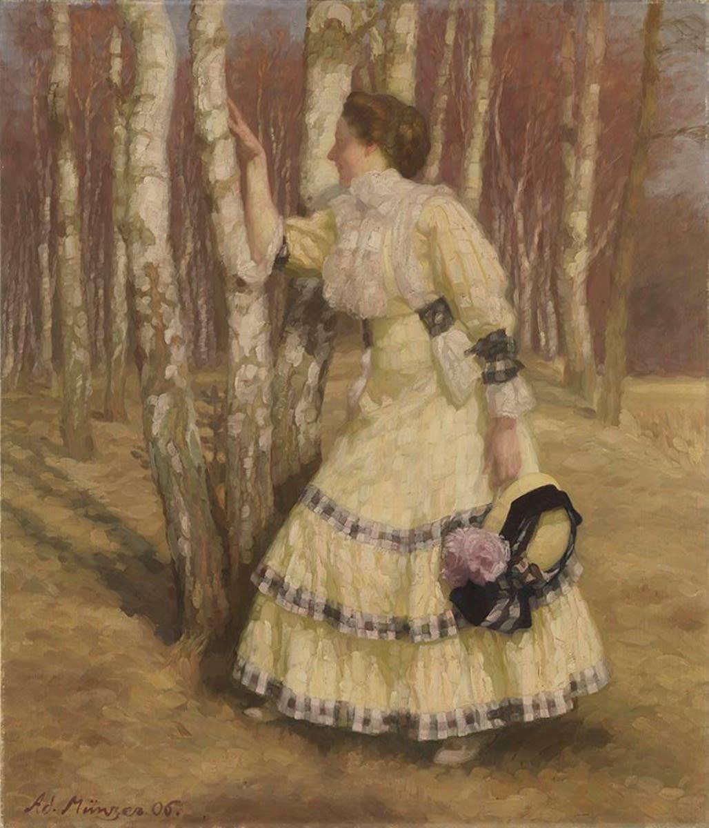 Dame im Birkenwald