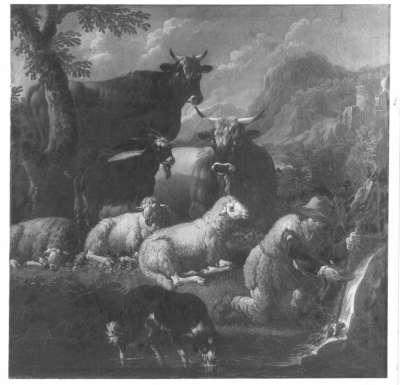 Landschaft mit Vieh und Hirt