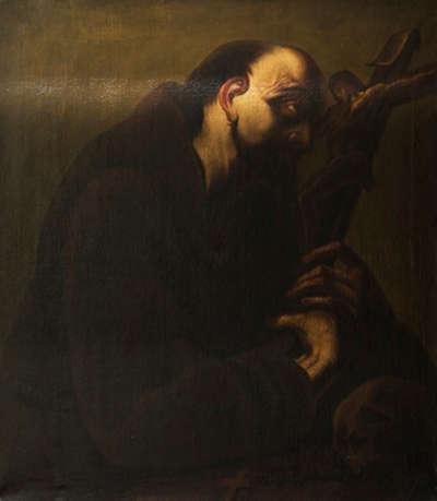 Der hl. Franziskus das Kreuz betrachtend