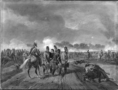 Die Verwundung Anton von Heiligensteins in der Schlacht bei Hanau im Jahr 1813