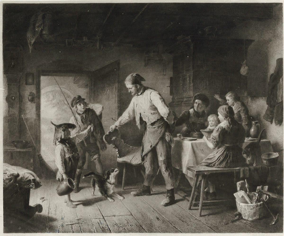 Versäumte Essenszeit (Lithographie von Christoph Preisel nach einem Gemälde von Karl von Enhuber)