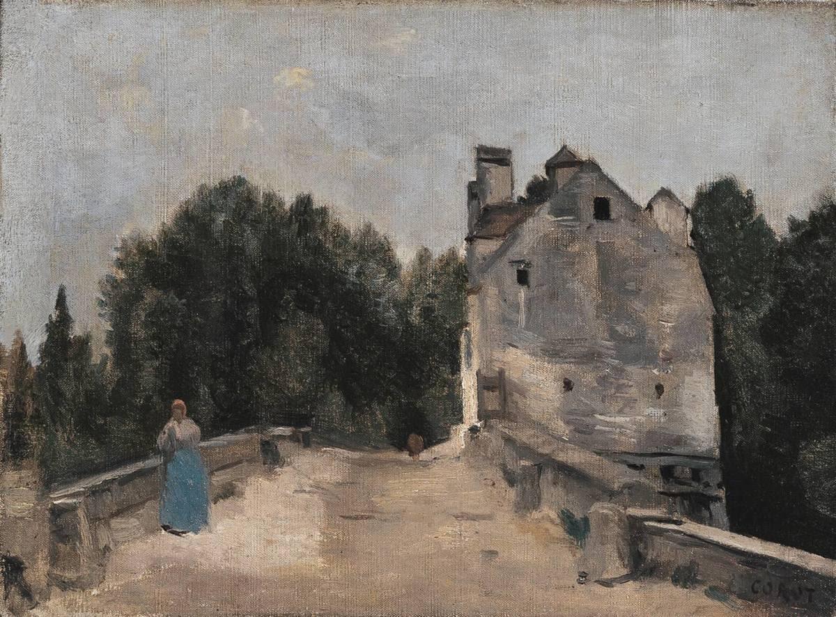 Brücke und Mühle bei Mantes