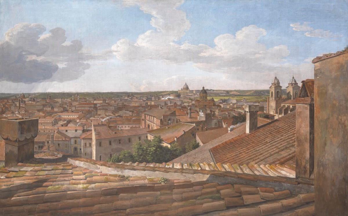 Blick von der Villa Malta in Rom nach Westen