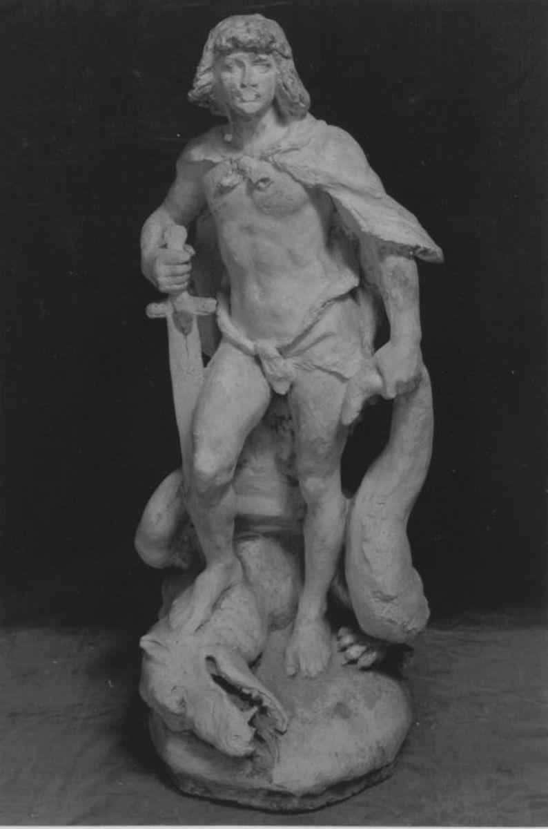Modell für den Siegfried des Siegfried-Brunnens in Worms