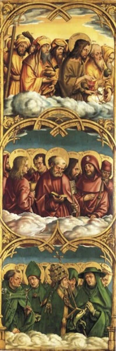 Allerheiligenaltar, linker Flügel: Gestalten der Lauretanischen Litanei