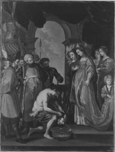 Tomyris lässt das Haupt des Cyrus in Blut tauchen (nach dem Stich von Paulus Pontius)