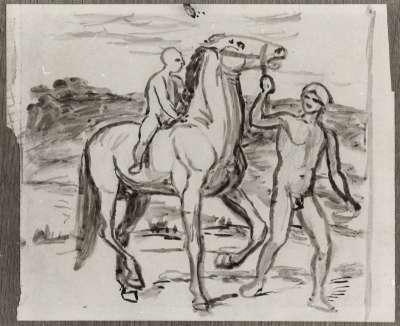 Figur mit Pferd in Landschaft