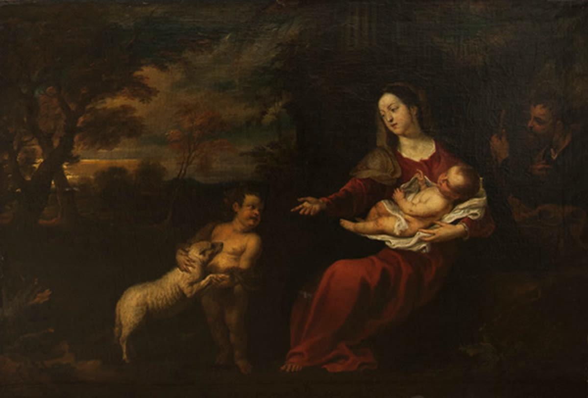 Die Heilige Familie in einer Abendlandschaft
