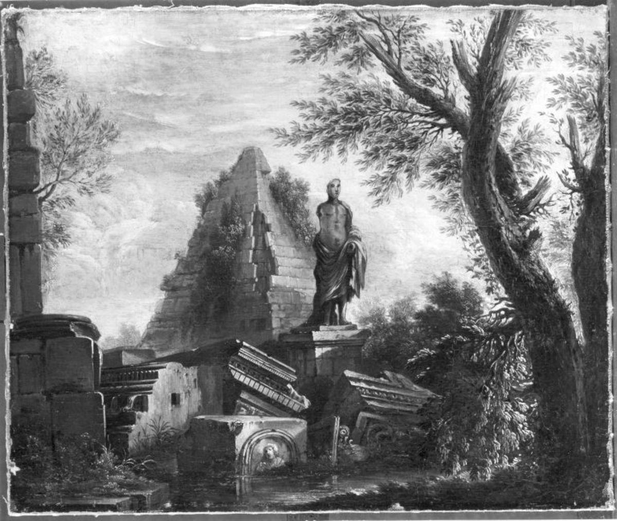 Landschaft mit antiken Ruinen und Statue