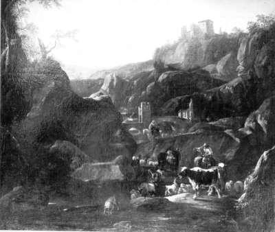 Flusslandschaft mit Viehherde bei Tivoli